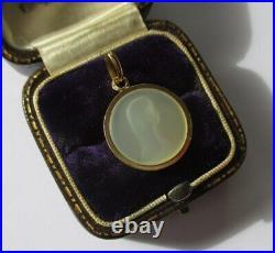 Ravissante médaille pendentif ancienne Vierge Nacre et or 18 carats gold 750