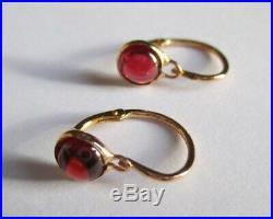 Ravissantes boucles doreilles dormeuses anciennes Grenats Or rose 18 carats