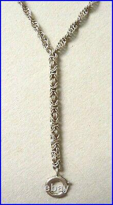 Sautoir collier chaine porte-montre ARGENT massif bijou ancien silver chain 31gr
