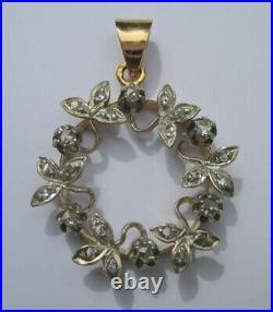 Somptueux pendentif ancien XIX couronne fleurs diamants Or 18 carats argent 6g