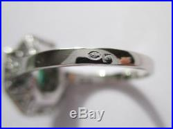 Splendide bague ancienne Art Déco Diamants Emeraude Or 18 carats platine 3g