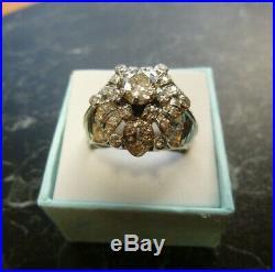 Splendide bague ancienne Platine et diamants 2,12 Ct T58 poincon tete de chien