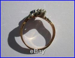 Splendide bague ancienne Toi et Moi saphir diamants Or 18 carats 750 & platine