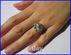 Splendide bague marguerite ancienne Diamants Or blanc 18 carats 750 5,5g