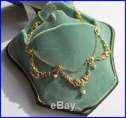Splendide collier draperie ancien Art Nouveau Fleurs Gold or 18 carats 750