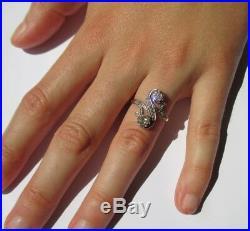 Splendide grande bague ancienne Diamants 0,70ct Platine et or 18 carats 750