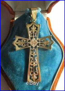 Splendide grande croix pendentif ancienne Gold or 18 carats 750 h5,3cm 5,9g