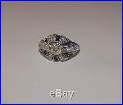 Sublime Bague Ancienne Domme Art Deco En Platine, Saphirs Et Diamants
