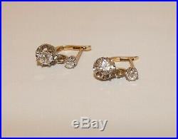 Sublime Jolie Paire De Dormeuses Anciennes En Or 750/1000 Milliemes Et Diamants