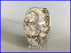 Sublime bague ancienne or gris platine et diamants 2,70 carats