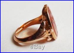 Superb Bague OR massif 18k intaille cornaline camée intaglio ancien gold ring 0