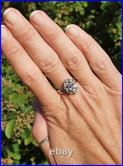 Superbe Bague Ancienne Or 18ct Aigue-marine Et Diamants