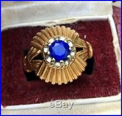 Superbe Bague Or 18 K Et Saphir Bleu Ancienne