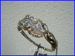 Superbe Bracelet Ancien En Vermeil/argent /pierres Du Rhin/perle Et Opale