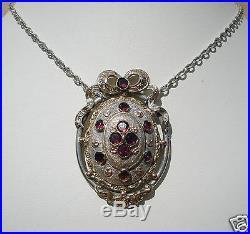 Superbe Collier Ancien/epoque Art Nouveau/metal Argente/dore/pierres