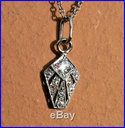 Superbe Pendentif Ancien Art Deco Platine Et Diamants