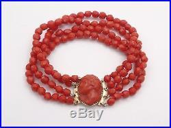 Superbe ancien bracelet 4 rangs corail facette fermoir camée corail et or 18k
