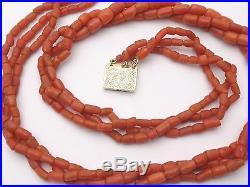 Superbe ancien collier 3 rangs perle de corail rouge fermoir or 18k