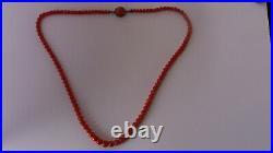 Superbe ancien collier corail fermoir argent necklace coral pearl