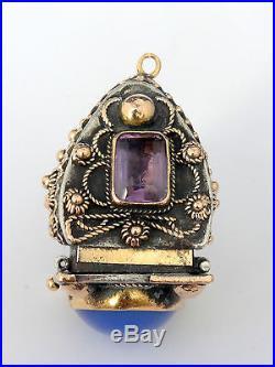 Superbe ancien pendentif boite reliquaire vinaigrette or argent améthyste XIXeme
