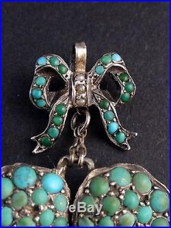 Superbe ancien pendentif en argent massif et cabochons de turquoise Fleur pensée