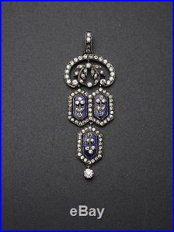 Superbe ancien pendentif en argent massif strass et pierres bleues XIXeme