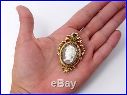 Superbe ancien pendentif porte photo camée monture pomponne Napoleon III