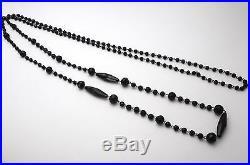 Superbe ancien sautoir collier perles de jais XIXe Antique jet necklace 192cm