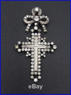 Superbe ancienne croix d'Yvetot argent massif or pierre du Rhin Normandie XIXe