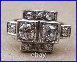 Superbe bague ancienne ART DECO or et diamants
