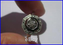 Superbe bague ancienne Art Déco Diamant Or 18 carats 750 et platine