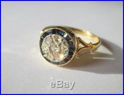 Superbe bague ancienne Diamants saphirs Gold or 18 carats 750 3g