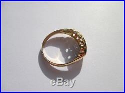 Superbe bague jarretière ancienne Saphirs Ceylan Diamants Or 18 carats 750