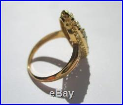 Superbe bague marquise ancienne 27 Diamants Topaze Or 18 carats 750 3,7g