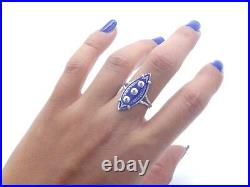 Superbe et rare bague ancienne epoque Empire argent massif email diamants T54
