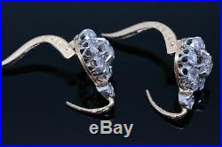 Superbes Dormeuses Anciennes Marguerites Or 18k 750°°° Diamants Fin Xix° Siecle