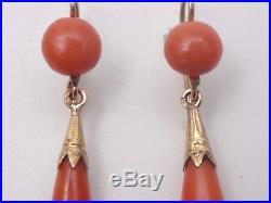 Superbes anciennes boucles pendants d'oreilles dormeuses en or 18k et corail XIX