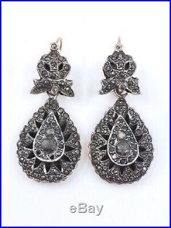 Superbes anciennes boucles pendants doreilles dormeuses or argent et diamants