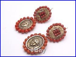 Superbes anciens pendants doreilles boucles or argent et corail