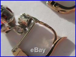 Superbes boucles doreilles dormeuses anciennes Grenat 2cts Or 18 carats 3,1g