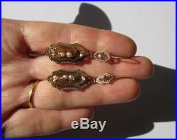 Superbes boucles doreilles dormeuses anciennes Napoléon III Or rose 18 carats