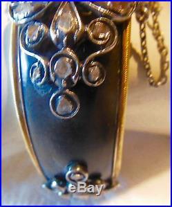 TRÈS RARE BRACELET ANCIEN en OR et ARGENT, Sertie de Diamants