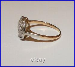 Tres Jolie Bague Ancienne Art Deco En Or Jaune 18 Carats, Platine Et Diamants