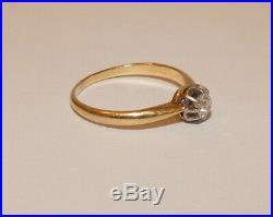 Tres Jolie Bague Ancienne En Or Jaune E T Gris 750/1000 Milliemes Et Diamant