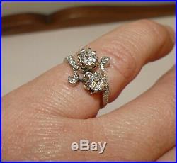 Tres Jolie Bague Ancienne Toi Et Moi En Or 750/1000 Et Diamants