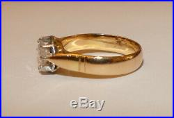 Tres Jolie Bague Solitaire Ancienne En Or Jaune 18 Carats, Platine Et Diamant