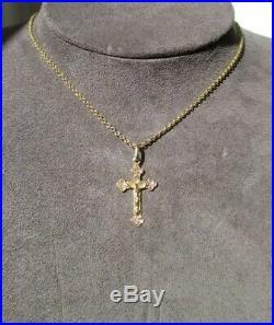 Très beau pendentif ancien Croix Jésus Christ Or 18 carats gold 750 h2,9cm
