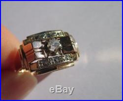 Très belle bague Tank ancienne Art Déco Diamant Or rose 18 carats 750 5,1g