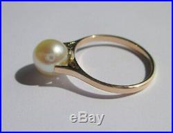 Très belle bague solitaire ancienne Perle Akoya Japon Or 18 carats 750