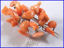 Très belle broche ancienne bouquet de fleur or 14k et corail peau d'ange